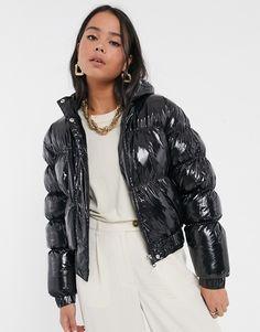Brave, Padded Jacket, Leather Jacket, Asos, Black Down, Puffy Jacket, Vinyl, Jacket Style, Cool Girl