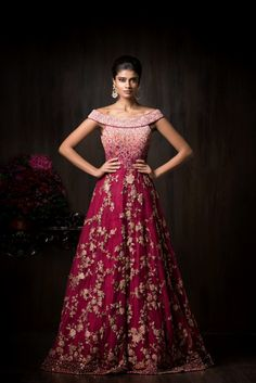 Cocktail Outfits - Off Shoulder Wine Gown | WedMeGood | Wine and Pink Ombre Gown with Sequin and Gold Embroidery #wedmegood #indianbride #indianwedding #gown #ombre #wine