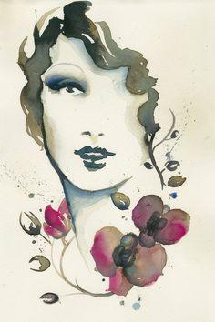 Original Watercolor Portrait Original by MademoiselleGlamour