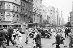 From GPO across to buildings demolished for the Commonwealth bank tower and Galleria. Melbourne, Australia.