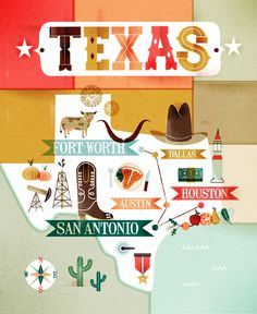 Texas artwork The kids could create a collage like this for some geography concept (state, region, country, relative location collages...) Doubles as a writing and research project.