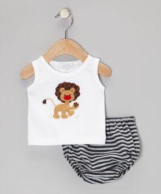 Victoria Kids White Lion Tank & Silver Stripe Diaper Cover - Infant by Victoria Kids #zulily #zulilyfinds