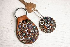 Custom initial leather key ring - Floral Pattern Bag tag - hand painted and hand stamped - Your Choice of Keychain Style