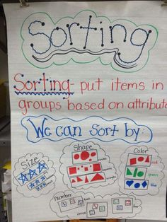 sorting anchor chart - investigate and describe how objects can be collected, grouped, and organized according to similarities and differences (e., attributes like size, colour) Sorting Kindergarten, Kindergarten Anchor Charts, Math Anchor Charts, Preschool Math, Math Classroom, Kindergarten Activities, Fun Math, Teaching Math, Maths