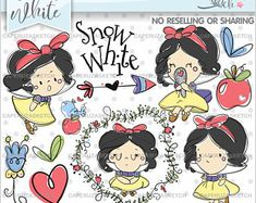 Snow White Clipart, Princess Clipart, Princess Graphics, Handrawn Girl, COMMERCIAL USE, Handrawn Clipart, Hand Drawn, Sketch, Clip Art Colorful Drawings, Cool Drawings, Unicornios Wallpaper, Circuit Crafts, Cute Clipart, Cute Doodles, Drawing Lessons, Bullet Journal Inspiration, Disney Cartoons
