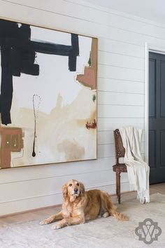 Shiplap panels in the entryway are so cool an casual with an edge Design by Dana Wolter Interiors art abstracto Project Expansion - Dana Wolter Interiors