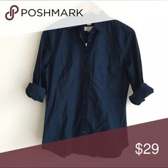 NWT LOFT Navy Blue Softened Button Down Shirt Dark blue, collared button down shirt.  Two open chest pockets.  Long sleeve, button cuffs.  The Softened Shirt.  100% cotton.  Brand new, with tags. LOFT Tops Button Down Shirts
