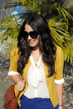 bow tie blouse+ cardigan+ great shades!