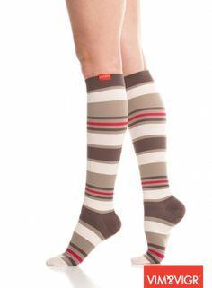 Vim & Vigr compression socks in Athena brown stripe