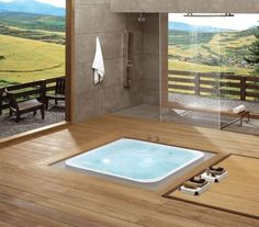 Most traditional homes usually feature the same type of bathtub. One of them is the sunken bathtub. Sunken Bathtub, Jacuzzi Tub, Japanese Bathtub, Japanese Shower, Natural Bathroom, Serene Bathroom, Zen Bathroom, Wooden Bathroom, Design Bathroom
