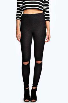Ava Split Knee Pocket Back Denim Look Jeggings at boohoo.com