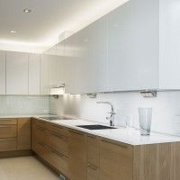 indirect led light kitchen wood white