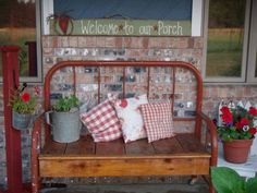 This is SO COOL - wrought iron bed frame into a bench!  LOVE LOVE LOVE it!