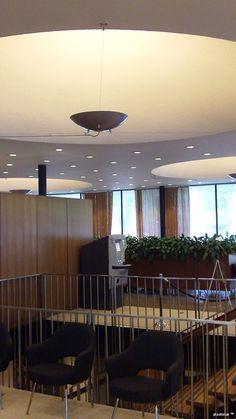 Eero Saarinen's Union Bank modern interior design: bounce lighting.