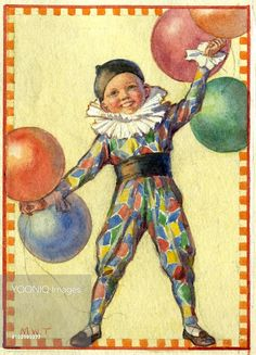 'Here's Christmas!' - A small boy dressed up in a clown costume with balloons. Christmas card