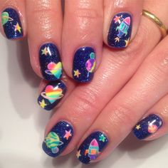 Space Nails, Lisa Frank, Art Database, Nails Magazine, Nail Art Designs, Opi Products, Pattern, Outer Space, Painting