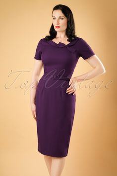Daisy Dapper Megan Pencil Dress in Purple 19507 20160719 019 Elegant Dresses Classy, Classy Dress, Sexy Dresses, Vintage Dresses, Dresses For Work, Vintage Tops, Bettie Page Clothing, Steady Clothing, Rockabilly Fashion