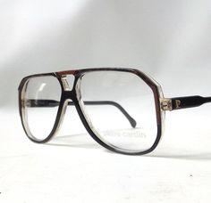 aa8f318fe6b vintage 1970 s pierre cardin eyeglasses black brown plastic frames  prescription lenses eye glasses men mid century retro aviator france NOS