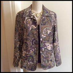 HOST PICKColdwater Creek Fall Jacket Love the pattern and the colors in this jacket. Soft tan, cream with the prettiest purple and splashes of green and yellow.  A gorgeous paisley pattern. The sleeves measure from shoulder seam to hem is 23 inches, sleeve hem has three buttons, see photo. The back of jacket has a  open slit. The length  back of neck to hem is 24 1/2 inches. Across the front button arm pit to the arm pit is 21 1/2 inches.( most wear open) jacket is lined 100% polyester/body…