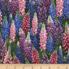 Timeless Treasures Botanical Trail Lupine Flowers Lupine Fabric By The Yard Colorful Interior Design, Colorful Decor, Home Decor Colors, House Colors, Lupine Flowers, Mosaic Garden Art, Diy Garden Furniture, Modes4u, Cool Fabric