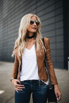 Dear stitchfix, I like this jacket and this color Brown Jacket Outfit, Brown Leather Jacket Outfits, Brown Faux Leather Jacket, Faux Jacket, Mode Cool, Fall Outfits, Casual Outfits, Tan Leather Jackets, Stitch Fix
