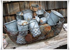 Rusty goodness..basket and pots