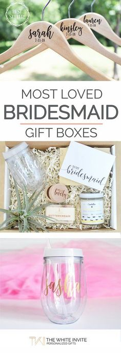 """Our most loved bridesmaid gift boxes. Wondering how to pop the question to your bridesmaids? What better way to ask """"Will you be my bridesmaid?"""" or to thank them for being your bridesmaids than with these sweet treats that will help them pamper and prep in style?  This set includes all of our favorite bridal items wrapped with ivory crinkle paper in a white box ready to give to the wedding party."""