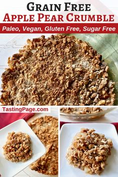 Enjoy a healthy fall or Thanksgiving dessert with this grain free apple pear crumble. This naturally sweetened apple pear crumble is grain free, gluten free, paleo, vegan, and refined sugar free | TastingPage.com #thanksgivingdessert #thanksgiving #applecrumble #paleodessert #vegandessert #sugarfree
