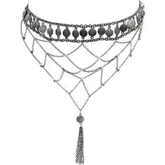 Ettika Tassel And Disc Choker Necklace (800 ZAR) ❤ liked on Polyvore featuring jewelry, necklaces, choker, accessories, jewelry-necklaces, grey, chain bib necklace, chain fringe necklace, dangle necklace and tassel jewelry