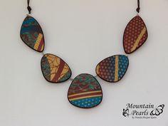Polymer clay necklace, mokume gane