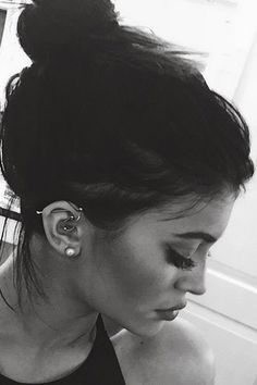 Kylie Jenner Ear Piercing Jewelry at MyBodiArt Ear Piercing For Women, Unique Ear Piercings, Multiple Ear Piercings, Celebrity Ear Piercings, Tragus Piercings, Cartilage Hoop, Diath Piercing, Tragus Piercing Jewelry, Ear Peircings
