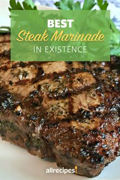 """Best Steak Marinade in Existence Recipe - - """"This is a family recipe that has been developed only over the last 5 years. In this short time it's made me famous in our close circle, but until now I've never shared it with anyone. Marinade Für Steaks, Steak Marinade Recipes, Grilled Steak Recipes, Grilling Recipes, Meat Recipes, Cooking Recipes, Steak Marinades, Game Recipes, Best Marinade For Steak"""