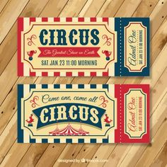 Tickets vintage de circo Vector Gratis