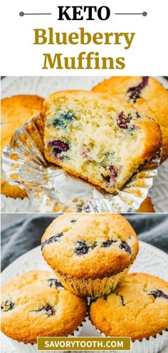 Simple blueberry muffins that are quick and easy to make, great for breakfast in the mornings or dessert. They are flourless (made with almond flour instead, with coconut flour option), healthy, and great for low carb or ketogenic diets. They are moist and fluffy, just like real muffins!