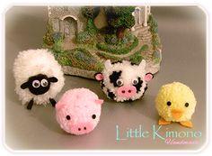❣ Little Kimono Handmade ❣ : Pompones animales de granja · RETO Iregumy Pompoms · Pom pom · Pompones
