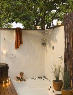 outdoor shower - having one has always been a dream of mine ... could you imagine taking a hot shower under the stars ?  I need this