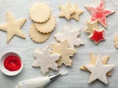 Sugar Cookies : This versatile cookie dough is perfect for cut-out, decorated cookies. Alton uses powdered sugar instead of flour to dust his countertop before rolling these out