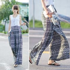 45SEVEN  Patterned Wide-Leg Pants