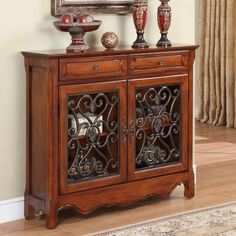 Powell Scroll Console Table - Light Cherry - Decorative Chests at Hayneedle
