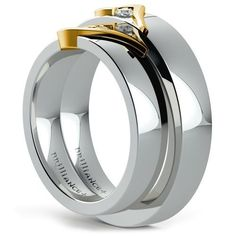 Matching Curled Heart Diamond Wedding Ring Set in Platinum and Yellow Gold Wedding Ring Set