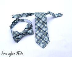 Boys Necktie, Light Blue and Navy Plaid Necktie, Toddler Boys Neck Tie, Infant Necktie, Wedding Ring Bearer, Matching Adult Necktie by BOYISHCHARMandCO on Etsy