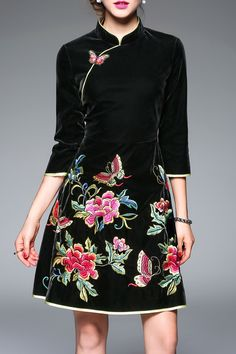 Floral Embroidered Flare Cheongsam Dress
