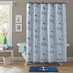 Better Homes And Gardens Nautical Shower Curtain Blue