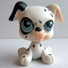 LPS#0044 (TER) DALMATIAN Variant. Dog days. White fur with black spots, one black eye and ear, lighter shade of pink on snout and ear, blue iris with white and blue spots.