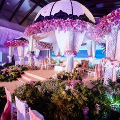 Amazing canopy style mandap adorned with lush pink blooms. Marriage Decoration, Outdoor Wedding Decorations, Stage Decorations, Flowers Decoration, Wedding Mandap, Wedding Stage, Wedding Day, Wedding Ties, Wedding Ceremony