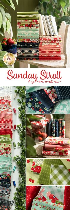 Sunday Stroll by Moda Fabrics from Bonnie & Camille is a gorgeous fabric collection available at Shabby Fabrics! Shop available yardage, precuts, and FQ Sets now for the best selection! Shabby Fabrics, Gorgeous Fabrics, Quilting, Sunday, Colorful, Sewing, Shop, Collection, Domingo