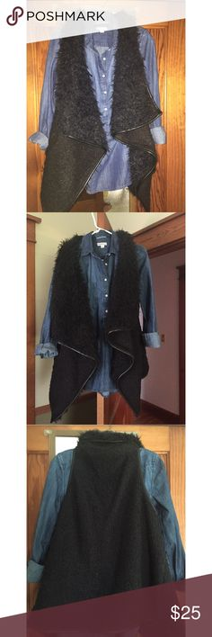 NWOT Love Tree Black Faux Fur Vest Buckle BKE NWOT fur vest purchased from Buckle. Never worn. Faux leather trim. Buckle Jackets & Coats Vests