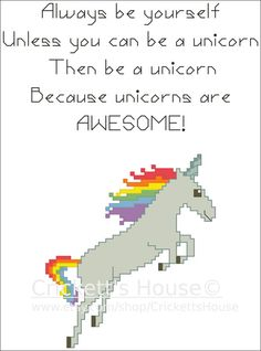 Unicorns are Awesome. So this pattern was sitting in the vault as well. :-) PDF Cross Stitch Pattern. by CrickettsHouse