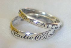 Mother's Baby Name Ring by loveandvictory: Hand engraved with her children's names and birth dates. #Baby_Name_Ring #loveandvictory