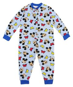 Boys Lightweight Blue Cotton Character Onesie Pyjama All in One Mickey Mouse